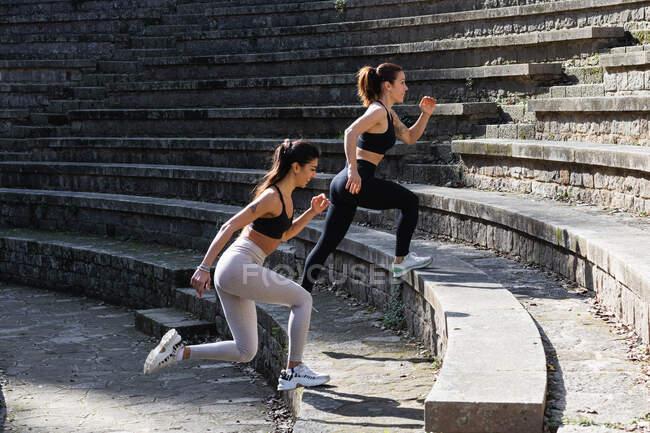 Вид сбоку сидящих женщин в активах, делающих упражнения и шагающих по каменной лестнице во время разминки перед сеансом йоги — стоковое фото