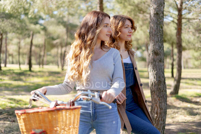 Happy young girlfriends smiling and looking away on bicycle in sunny park in summer — Stock Photo