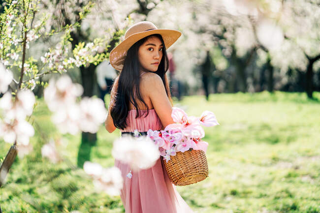 Back view of female in dress and straw hat standing with basket in blooming garden looking over the shoulder towards camera — Stock Photo