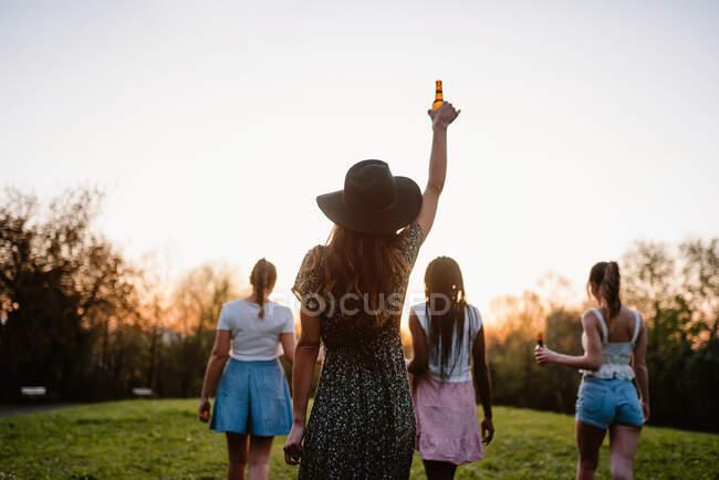 Visão traseira da companhia de namoradas anônimas com cerveja desfrutando de fim de semana de verão ao pôr do sol no parque — Fotografia de Stock