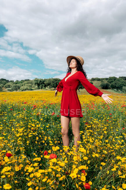 Side view of trendy female in red sundress and with flower crown standing with eyes closed on blossoming field with yellow and red flowers with outstretched arms on warm summer day — Stock Photo
