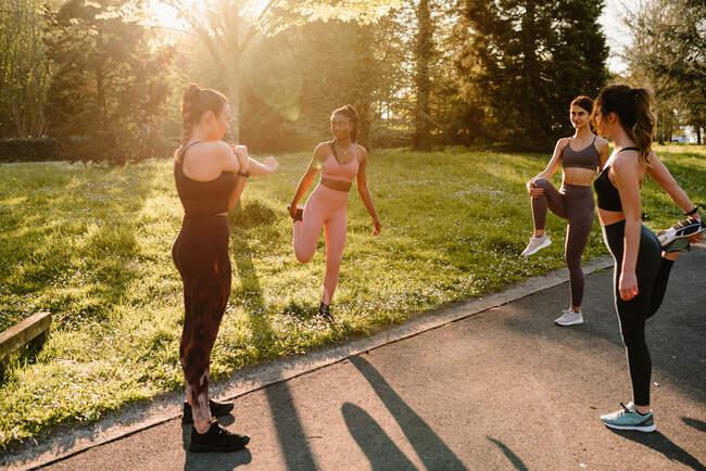 Молодые многорасовые спортсменки в спортивной одежде, протягивающие руки и ноги по асфальтовой тропинке в городе в солнечный день — стоковое фото