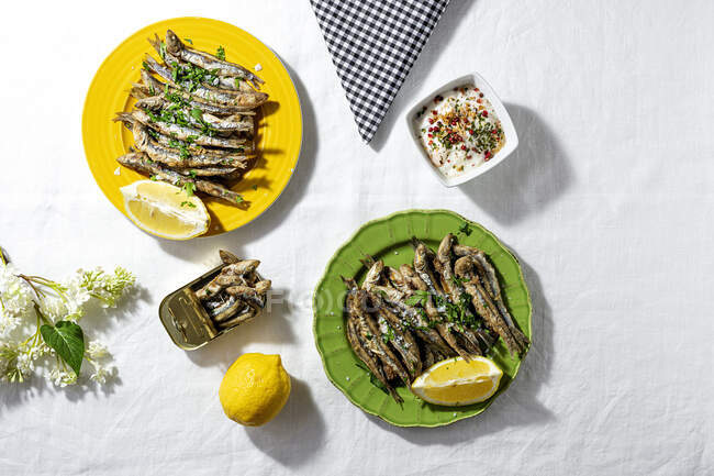 From above of fried and canned anchovies served on table with fresh lemons in restaurant in sunlight — Stock Photo
