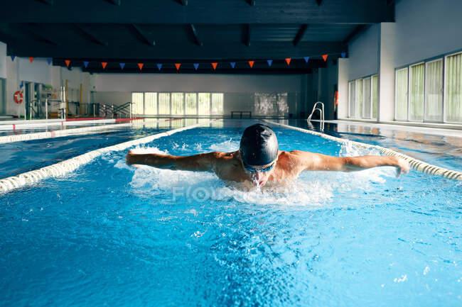 Сильний самець плаває в купальнику, виконуючи інсульт метелика під час тренування в басейні з блакитною водою. — стокове фото