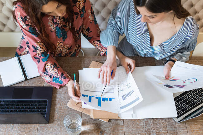From above crop concentrated female coworkers gathering at desk with laptops and analyzing diagrams while working together in modern workspace — Stock Photo