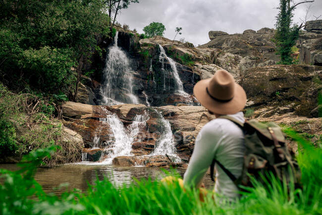 Back view anonymous male backpacker in hat enjoying view of cascade streaming from rough rock in verdant nature — Stock Photo