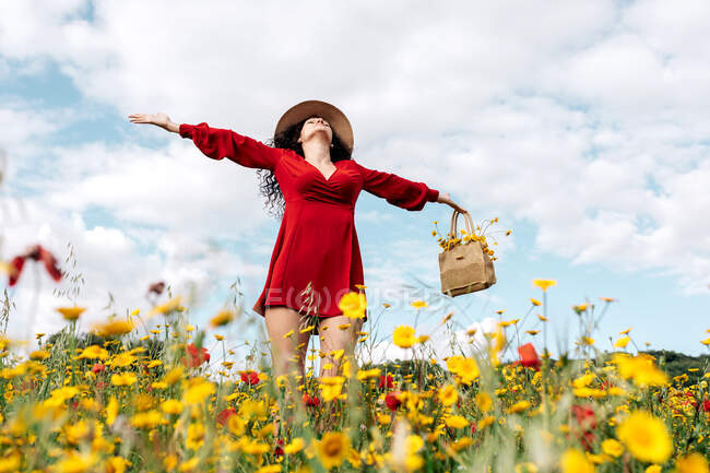 From below happy female in red sundress, hat and handbag standing with eyes closed on blossoming field with yellow and red flowers with outstretched arms enjoying on warm spring summer day — Stock Photo