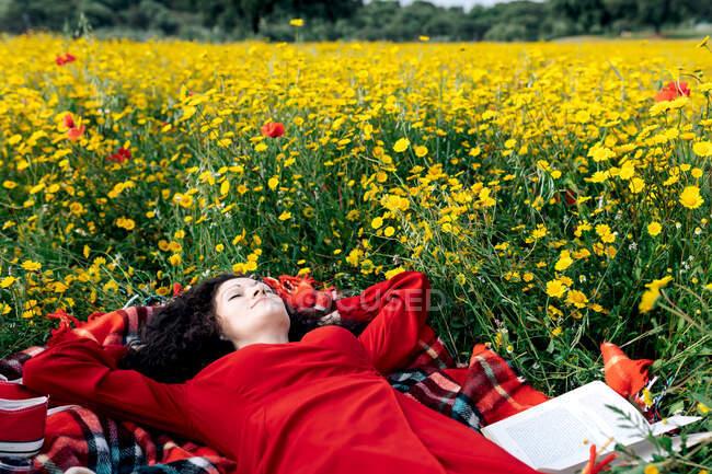Самка з закритими очима має перерву від читання підручника на ковдрі серед цвітіння маргаритки протягом весняного літнього дня — стокове фото