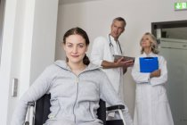 Woman Patient in wheelchair — Stock Photo