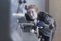 Engineer working in industrial plant — Stock Photo