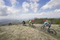 Байкер катается на велосипеде по траве — стоковое фото