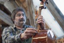 Artigiano che tiene il violino — Foto stock