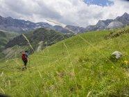 Femme de randonnée en alpage à hautes Pyrénées près de Pont Estaube, France — Photo de stock
