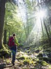 Woman hiking in Black Forest, Bad Liebenzell, Baden-Wurttemberg, Germany — Stock Photo