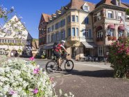 Їде електричні гірський велосипед Мюнстер, Рейн, Вогези, Франція — стокове фото