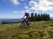 Mature male biker cycling on trail in mountains of Alsace, France — Stock Photo