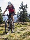 Пожилой велосипедист на велосипеде по тропе в горах Эльзаса, Франция — стоковое фото