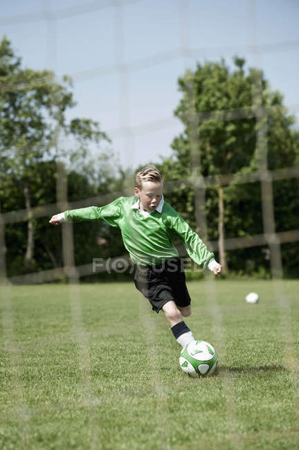Soccer boy penalty practice — Stock Photo