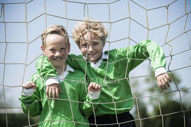 Two young football players — Stock Photo