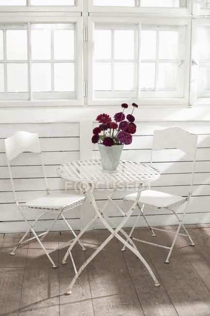 Dahlia flores em vaso sobre mesa metálica — Fotografia de Stock