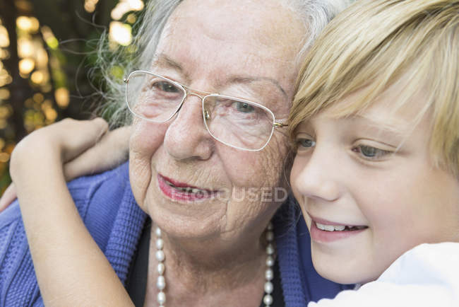 Portrait of grandmother with grandson — Stock Photo