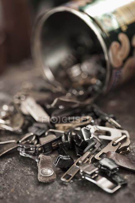 Zippers in a cobbler's shop — Stock Photo