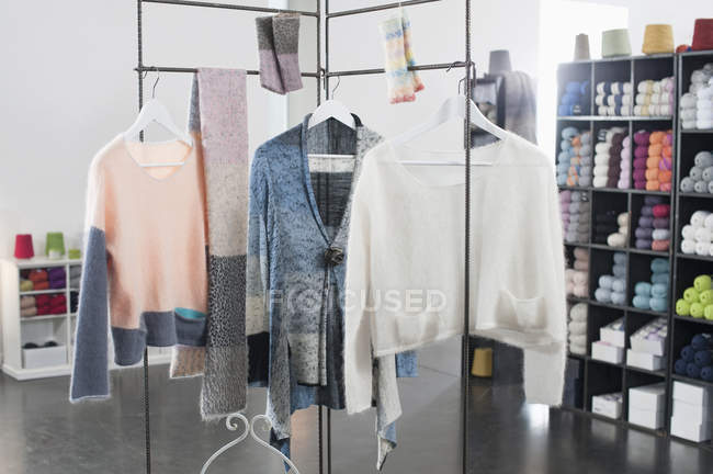 Handcrafted woolen clothes for sale — Stock Photo
