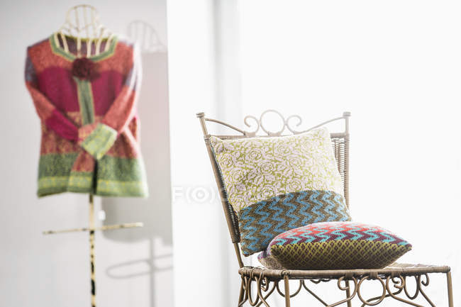 Two cushions on chair — Stock Photo