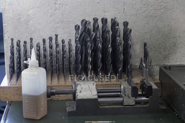 Drill bits placed on table — Stock Photo