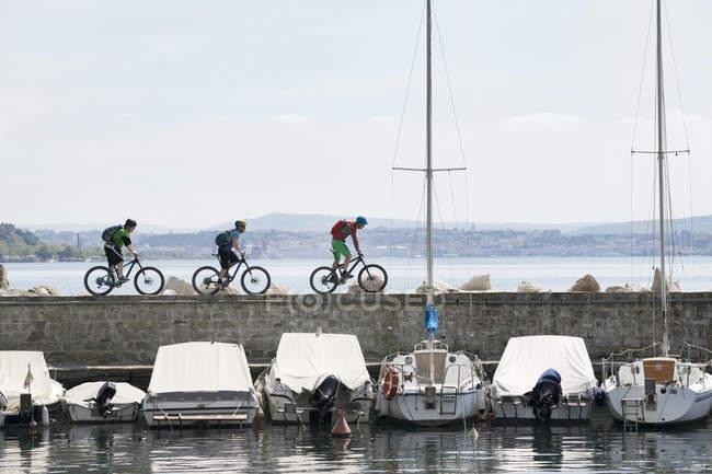 Fahrradfahren auf Steg über See Biker — Stockfoto