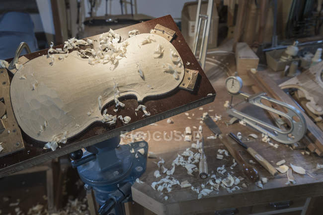 Violin in making at workshop — Stock Photo