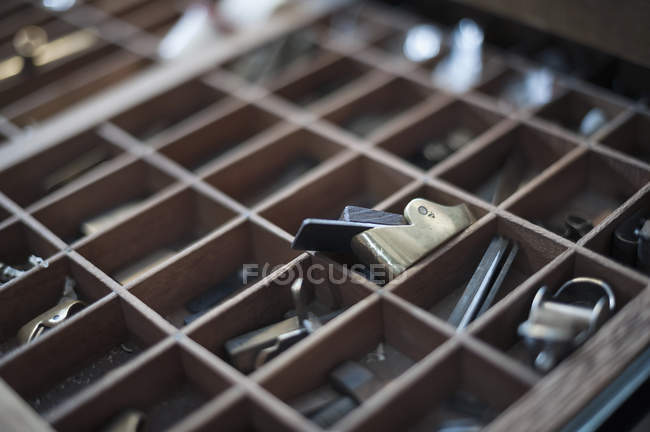 Tools on table at workshop — Stock Photo