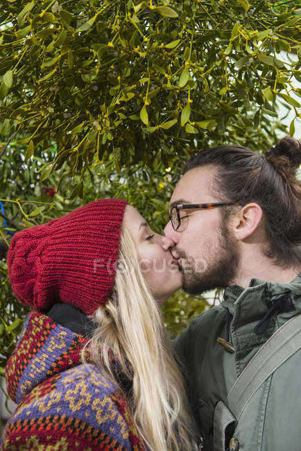 Couple kissing under mistletoe tree — Stock Photo