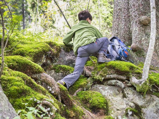 Vista trasera de la niña escalando en la Selva Negra, Feldberg, Alemania - foto de stock