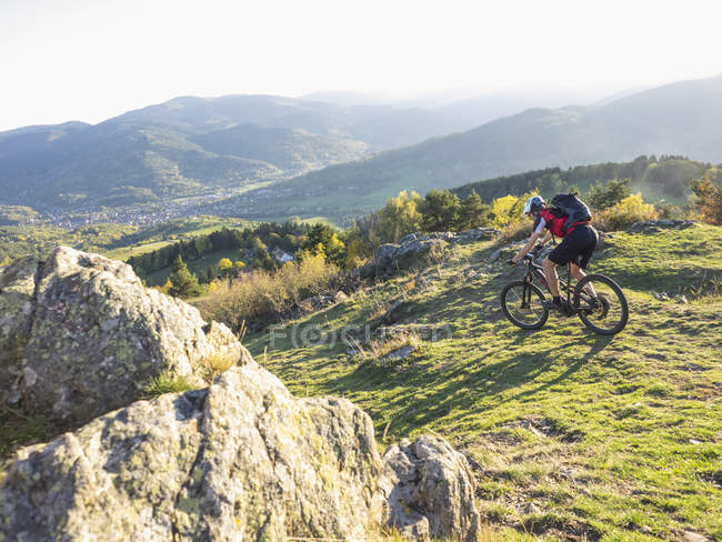 Mountain biker cycling on single trail near commune of Munster, France — Stock Photo