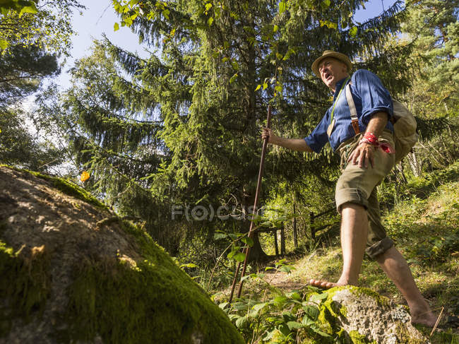 Senior man hiking barefoot in Middle Black Forest, Baden-Wurttemberg, Germany — Stock Photo