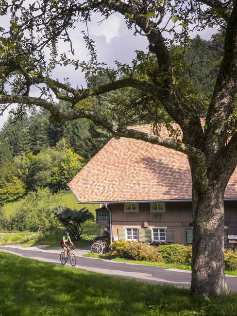 Человек езда велосипедов в деревне в южной части Шварцвальда, Баден-Вюртемберг, Германия — стоковое фото