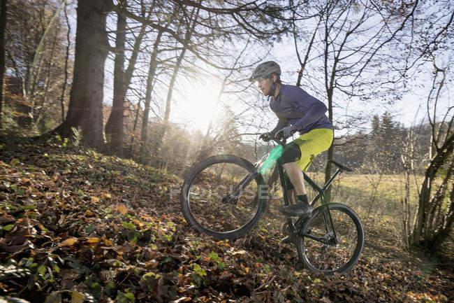 Езда на горном велосипеде в гору в лесу, Бавария, Германия — стоковое фото