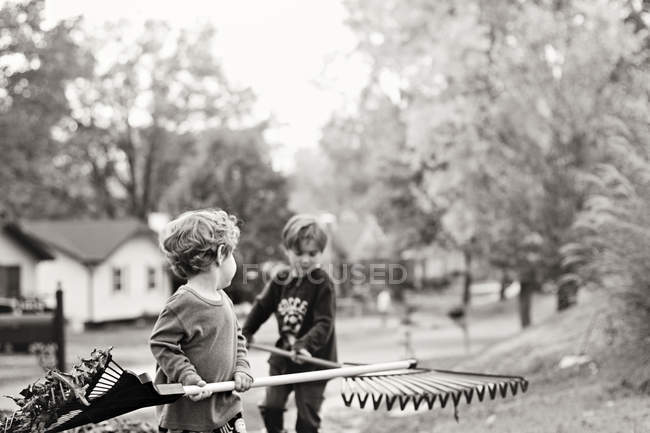 Cute little boys with rakes in garden — Stock Photo