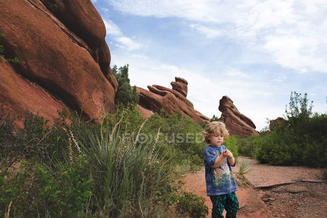 Cute serious little boy — Stock Photo