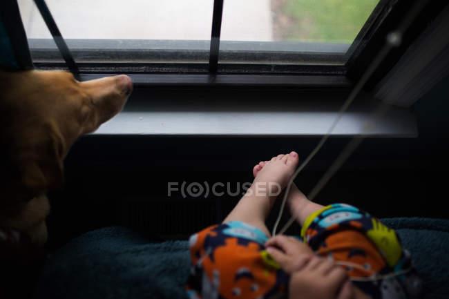 Petit garçon et chien assis près de la fenêtre — Photo de stock