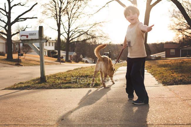 Menino caminhando com um cachorro — Fotografia de Stock