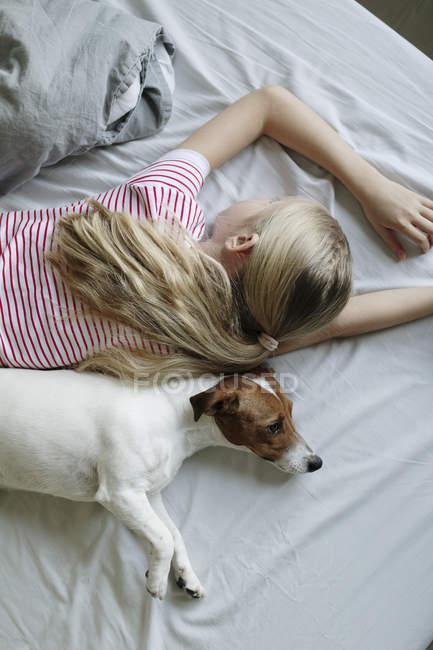 Vista elevada de chica con lindo perro en la cama - foto de stock