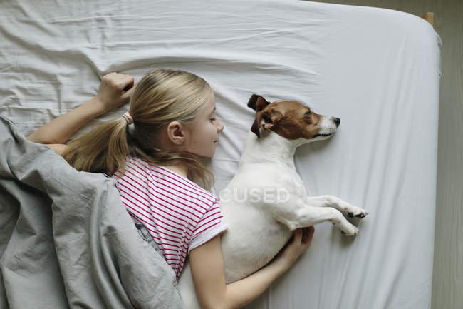 Vista elevada de chica con perro lindo en la cama - foto de stock