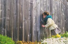 Girl looking trough wooden fence — Stock Photo