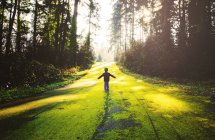 Boy standing in forest — Stock Photo