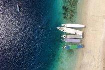 Пташиного польоту човни на пляжі — стокове фото