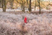 Junge spaziert im Wald — Stockfoto
