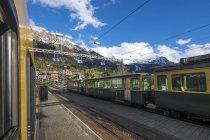 Гора потяг на залізничний вокзал — стокове фото