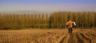 Junge rennt durch baumgesäumtes Feld — Stockfoto